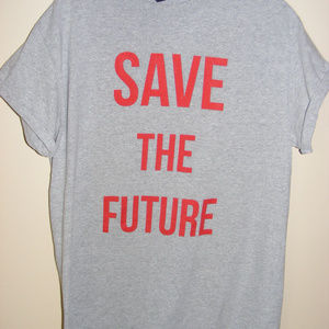 Message T Shirt SAVE THE FUTURE Grey Red Topshop M